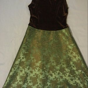 Formal girls black and green dress